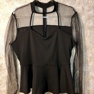 Choker sheer sleeve with gold flicking.  1XL